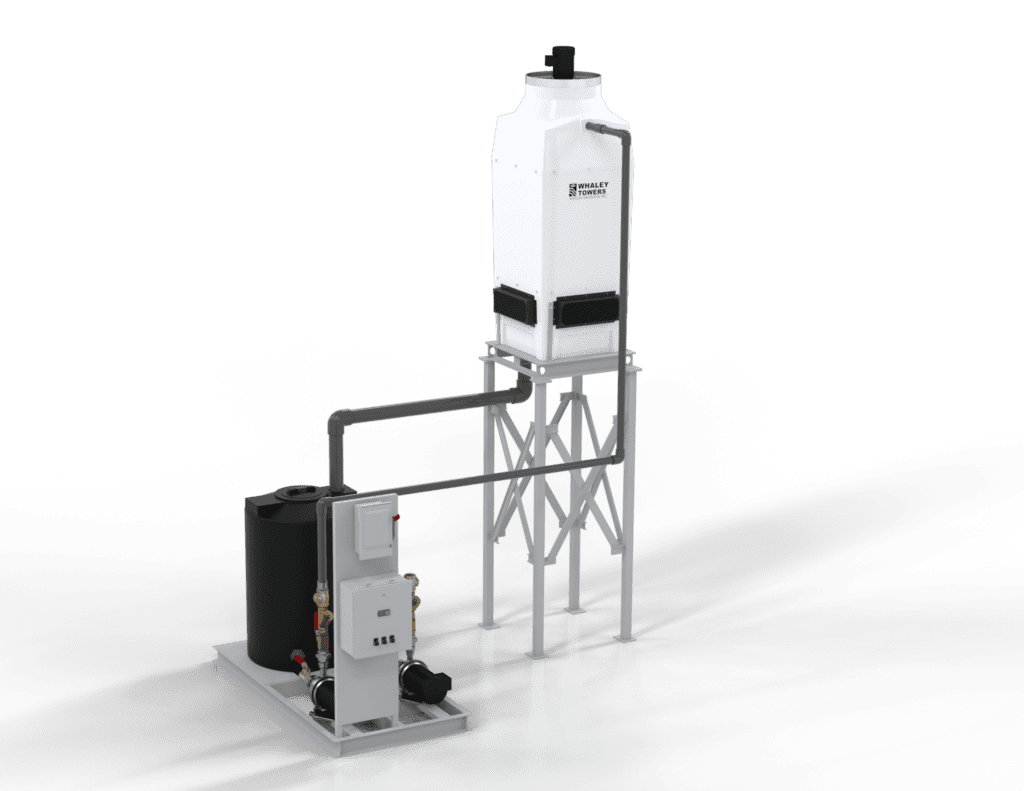 Ten Ton Elevated Cooling Tower with pump tank skid