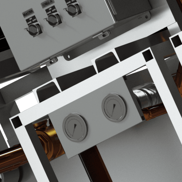 Modular water-cooled control panel and gauges