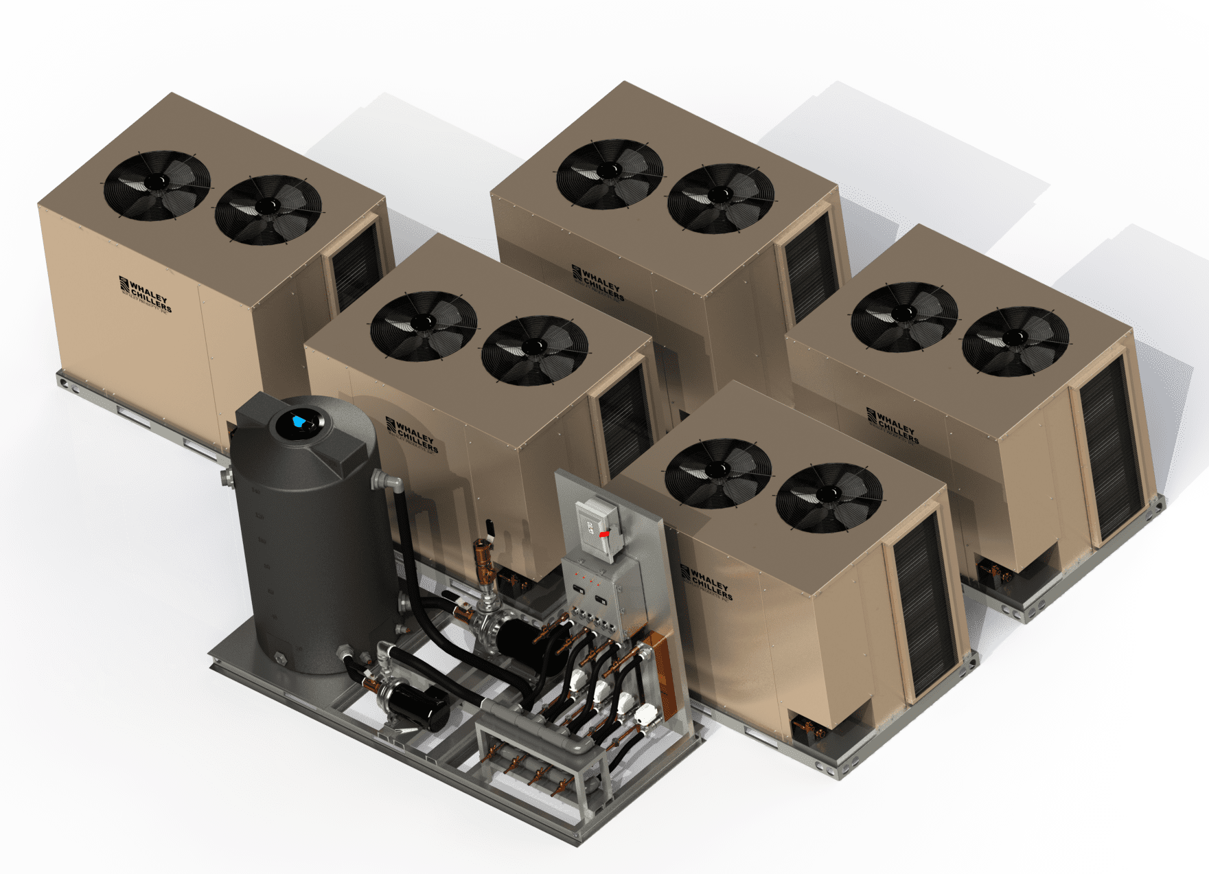 RAR Five Condensers with Heat Transfer Pump Tank Skid