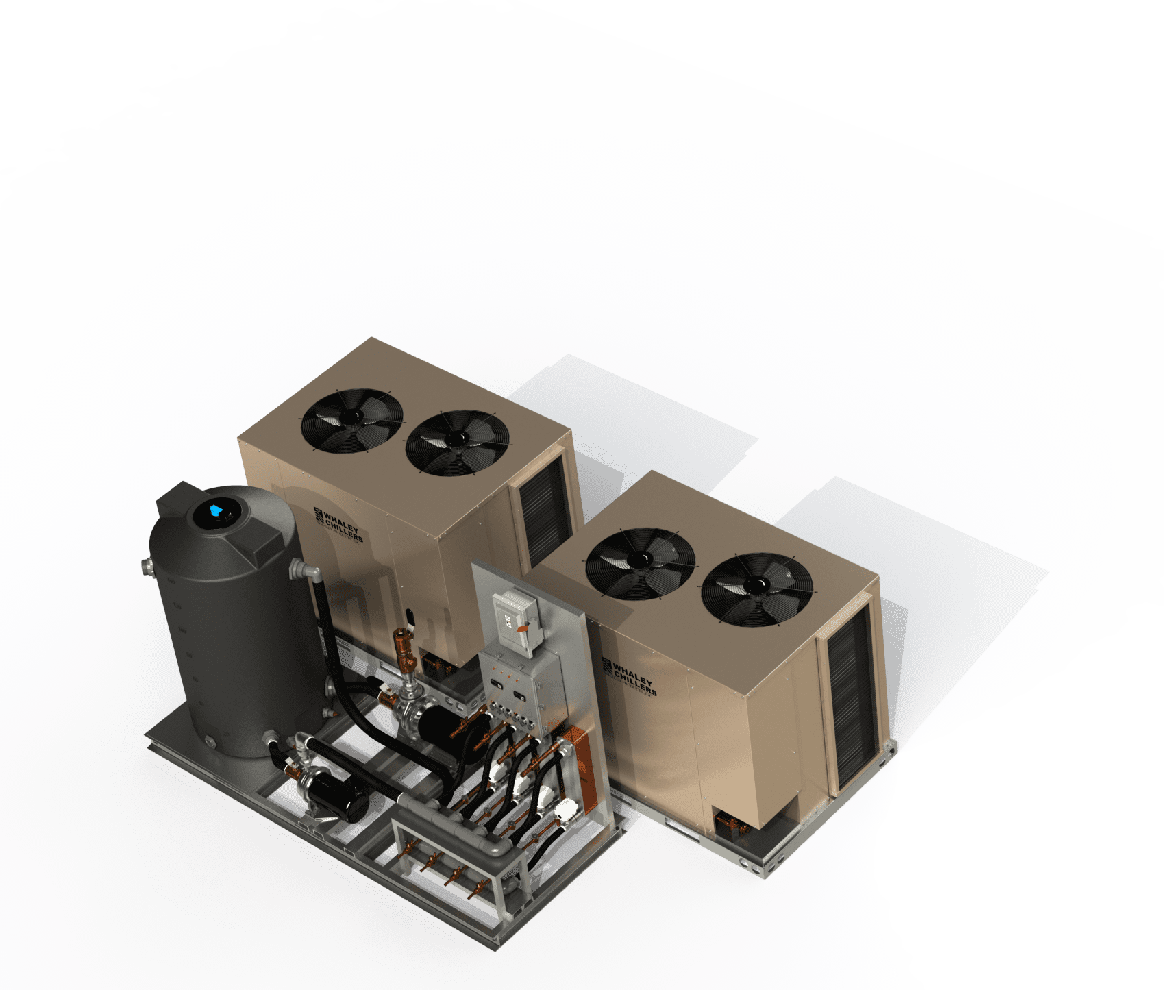 RAR Two Condensers with Heat Transfer Pump Tank Skid