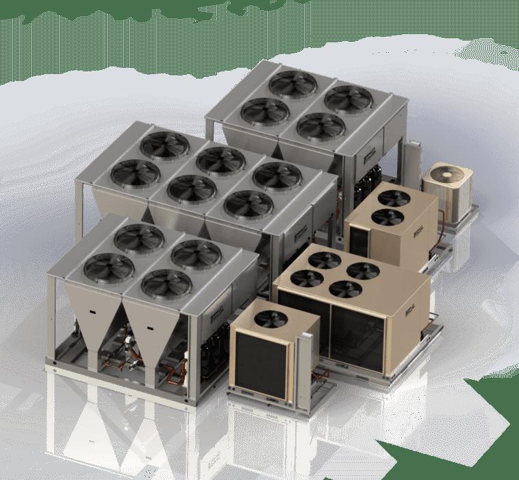 Modular air-cooled chiller units for redundancy